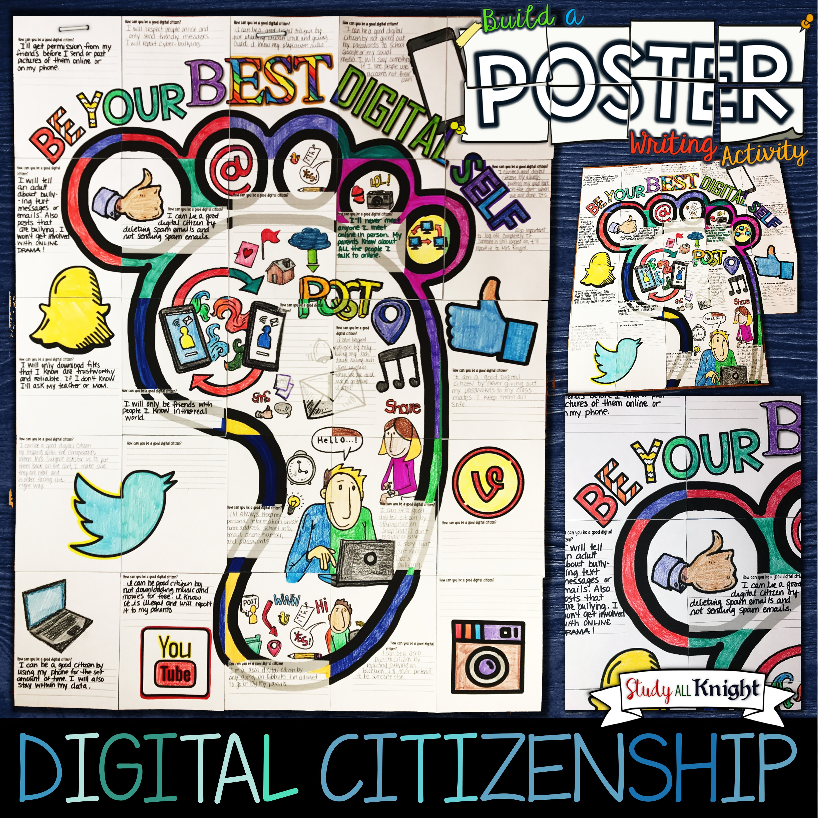 Digital Citizenship Writing Activity Poster Group Collaboration Project