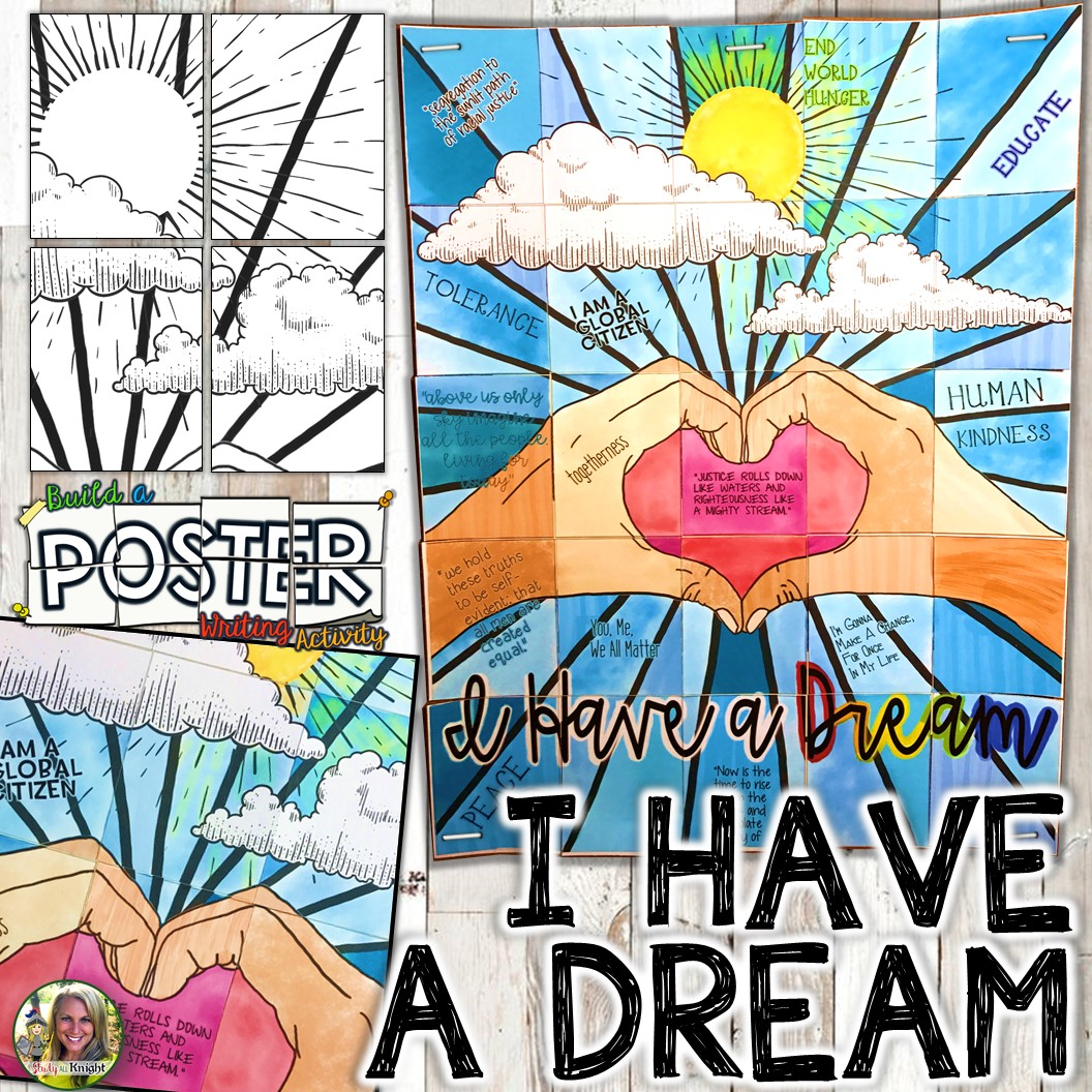 4 : I Have a dream Speech Spelled out in poster Wall art. Martin Luther King