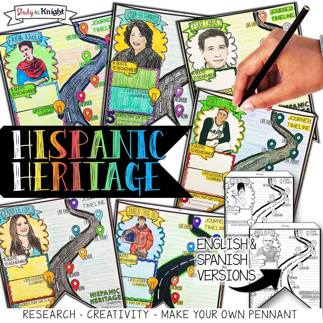 Hispanic Heritage Month Pennant Activity Study All Knight